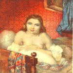 Taras Hryhorovych Shevchenko (1814 - 1861)   Woman in bed  Watercolor on paper, 1839 - 1840  23,1 × 19,1 см  State Shevchenko Museum, Kyiv, Ukraine